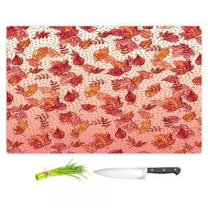 Artistic Kitchen Bar Cutting Boards | Julia Di Sano - Ombre Autumn Pink red | Autumn Leaves pattern