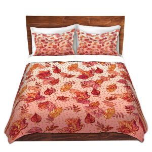 Artistic Duvet Covers and Shams Bedding | Julia Di Sano - Ombre Autumn Pink red | Autumn Leaves pattern
