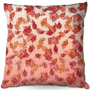 Throw Pillows Decorative Artistic | Julia Di Sano - Ombre Autumn Pink red | Autumn Leaves pattern