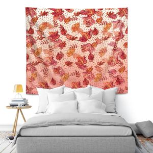 Artistic Wall Tapestry | Julia Di Sano - Ombre Autumn Pink red | Autumn Leaves pattern