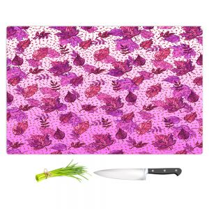 Artistic Kitchen Bar Cutting Boards | Julia Di Sano - Ombre Autumn Purple Pink | Autumn Leaves pattern