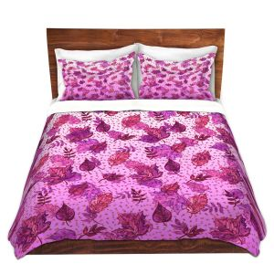 Artistic Duvet Covers and Shams Bedding | Julia Di Sano - Ombre Autumn Purple Pink | Autumn Leaves pattern