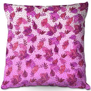 Decorative Outdoor Patio Pillow Cushion | Julia Di Sano - Ombre Autumn Purple Pink | Autumn Leaves pattern