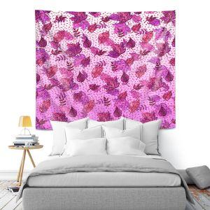 Artistic Wall Tapestry | Julia Di Sano - Ombre Autumn Purple Pink | Autumn Leaves pattern