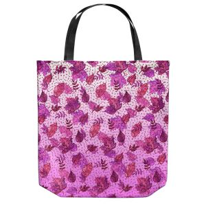 Unique Shoulder Bag Tote Bags | Julia Di Sano - Ombre Autumn Purple Pink | Autumn Leaves pattern
