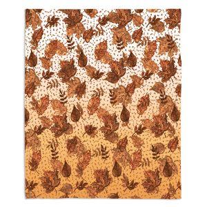 Decorative Fleece Throw Blankets | Julia Di Sano - Ombre Autumn Sepia Brown | Autumn Leaves pattern