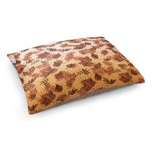 Decorative Dog Pet Beds | Julia Di Sano - Ombre Autumn Sepia Brown | Autumn Leaves pattern