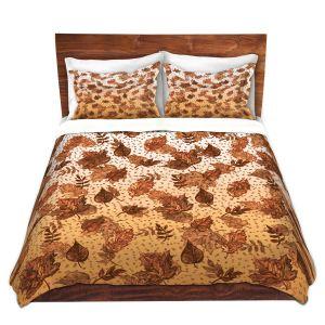 Artistic Duvet Covers and Shams Bedding | Julia Di Sano - Ombre Autumn Sepia Brown | Autumn Leaves pattern