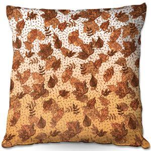 Decorative Outdoor Patio Pillow Cushion | Julia Di Sano - Ombre Autumn Sepia Brown | Autumn Leaves pattern