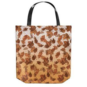 Unique Shoulder Bag Tote Bags | Julia Di Sano - Ombre Autumn Sepia Brown | Autumn Leaves pattern