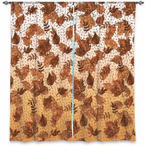 Decorative Window Treatments | Julia Di Sano - Ombre Autumn Sepia Brown | Autumn Leaves pattern