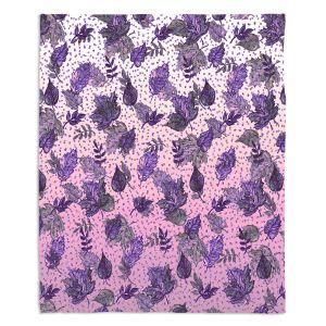 Artistic Sherpa Pile Blankets | Julia Di Sano - Ombre Autumn Violet Purple | Autumn Leaves pattern