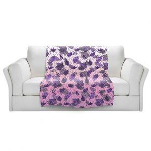 Artistic Sherpa Pile Blankets   Julia Di Sano - Ombre Autumn Violet Purple   Autumn Leaves pattern