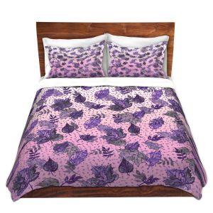 Artistic Duvet Covers and Shams Bedding | Julia Di Sano - Ombre Autumn Violet Purple | Autumn Leaves pattern