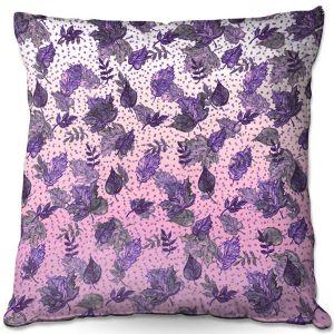 Decorative Outdoor Patio Pillow Cushion | Julia Di Sano - Ombre Autumn Violet Purple | Autumn Leaves pattern