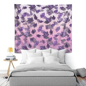 Artistic Wall Tapestry | Julia Di Sano - Ombre Autumn Violet Purple | Autumn Leaves pattern