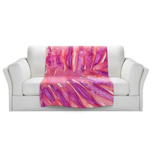 Artistic Sherpa Pile Blankets   Julia Di Sano - Paradise Palm Pink   Nature Leaf