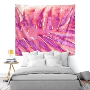 Artistic Wall Tapestry | Julia Di Sano - Paradise Palm Pink | Nature Leaf