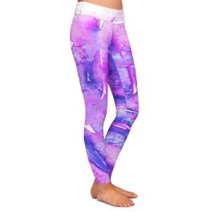 Casual Comfortable Leggings | Julia Di Sano - Paradise Palm Purple | Nature Leaf