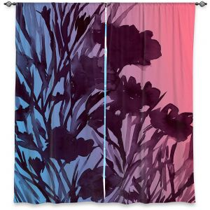 Unique Window Curtain Lined 40w x 61h from DiaNoche Designs by Julia Di Sano - Petal Thoughts Pink Blue