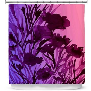 Unique Shower Curtain from DiaNoche Designs by Julia Di Sano - Petal Thoughts Pink Purple
