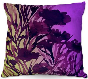 Decorative Outdoor Patio Pillow Cushion   Julia Di Sano - Petal Thoughts Purple Yellow
