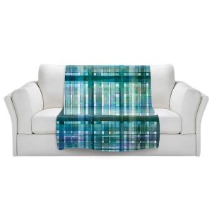 Artistic Sherpa Pile Blankets   Julia Di Sano - Plaid Blue Green Pastel   pattern shapes geometric rectangle