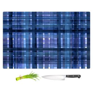 Artistic Kitchen Bar Cutting Boards | Julia Di Sano - Plaid Blue Violet | pattern shapes geometric rectangle