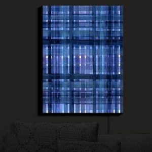 Nightlight Sconce Canvas Light | Julia Di Sano - Plaid Blue Violet | pattern shapes geometric rectangle