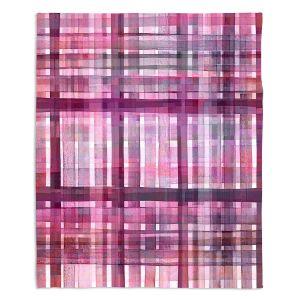 Decorative Fleece Throw Blankets | Julia Di Sano - Plaid Pink Purple Pastel | pattern shapes geometric rectangle