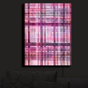 Nightlight Sconce Canvas Light | Julia Di Sano - Plaid Pink Purple Pastel | pattern shapes geometric rectangle