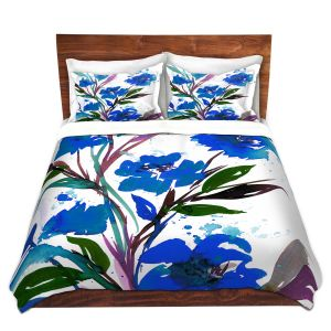 Artistic Duvet Covers and Shams Bedding | Julia Di Sano - Pocketful Posies Blue