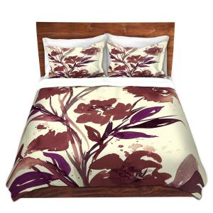 Artistic Duvet Covers and Shams Bedding | Julia Di Sano - Pocketful Posies Brown