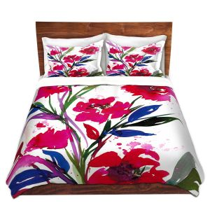 Unique Duvet Microfiber Queen set from DiaNoche Designs by Julia Di Sano - Pocketful Posies RED