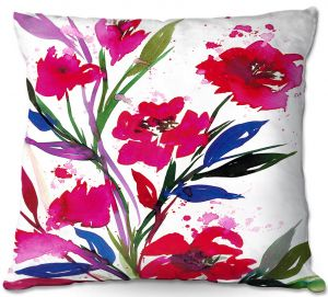 Throw Pillows Decorative Artistic | Julia Di Sano - Pocketful Posies Red