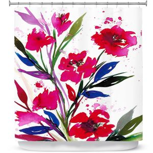 Unique Shower Curtain from DiaNoche Designs by Julia Di Sano - Pocketful Posies Red