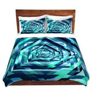 Artistic Duvet Covers and Shams Bedding | Julia Di Sano - Rainbow Vortex 1 | Geometric Abstract