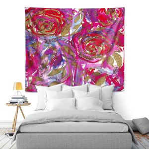 Artistic Wall Tapestry | Julia Di Sano - Rose Combustion Red Blue