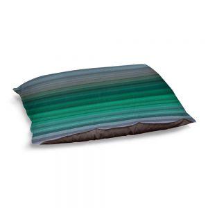Decorative Dog Pet Beds | Julia Di Sano - Stria Green Grey | Geometric Pattern