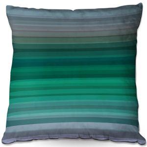 Decorative Outdoor Patio Pillow Cushion | Julia Di Sano - Stria Green Grey | Geometric Pattern