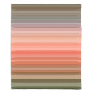 Decorative Fleece Throw Blankets | Julia Di Sano - Stria Pink Peach | Geometric Pattern