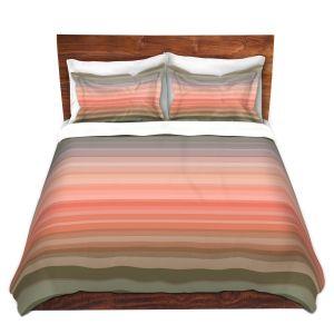 Artistic Duvet Covers and Shams Bedding | Julia Di Sano - Stria Pink Peach | Geometric Pattern