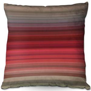 Throw Pillows Decorative Artistic | Julia Di Sano - Stria Red Grey | Geometric Pattern