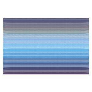 Decorative Floor Covering Mats   Julia Di Sano - Stria Sky Blue Grey   Geometric Pattern