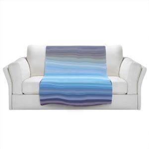 Artistic Sherpa Pile Blankets   Julia Di Sano - Stria Sky Blue Grey   Geometric Pattern