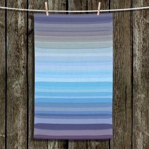 Unique Hanging Tea Towels | Julia Di Sano - Stria Sky Blue Grey | Geometric Pattern