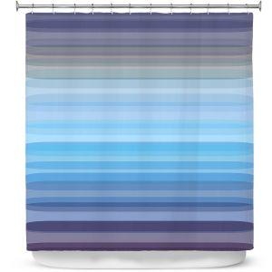 Premium Shower Curtains | Julia Di Sano - Stria Sky Blue Grey | Geometric Pattern