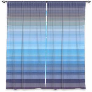 Decorative Window Treatments | Julia Di Sano - Stria Sky Blue Grey | Geometric Pattern