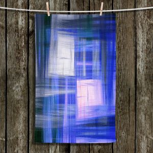 Unique Hanging Tea Towels | Julia Di Sano - Tartan Crosshatch Blue | Abstract Patterns