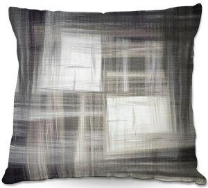 Decorative Outdoor Patio Pillow Cushion   Julia Di Sano - Tartan Crosshatch Greyscale